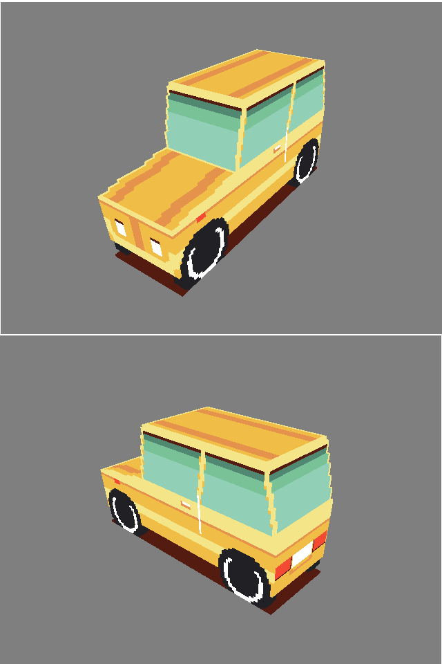 A Image of a voxel car